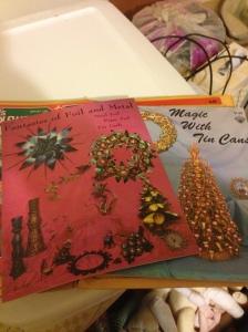 Tin craft books found in the craft room.  Vintage stuff.