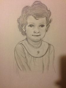 Gramma's sketch of my sister when she was little.