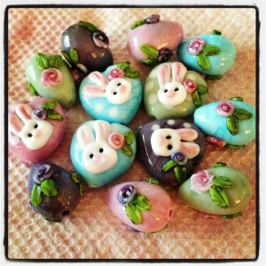 Heart shaped bunny beads and Easter Eggs